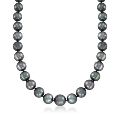 10-13mm Black Cultured Tahitian Pearl Necklace with 14kt White Gold