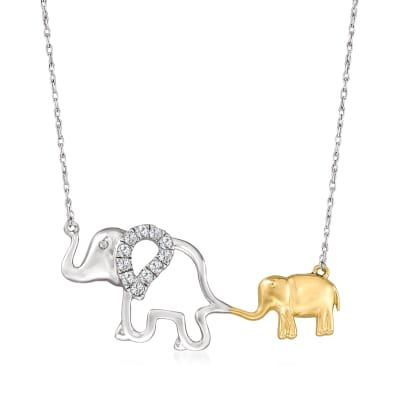 .25 ct. t.w. Diamond Double-Elephant Necklace in Sterling Silver and 14kt Yellow Gold