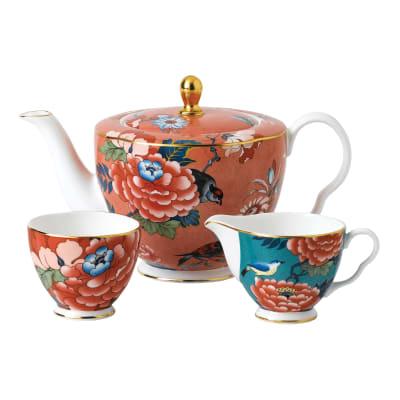 "Wedgwood ""Paeonia Blush"" 3-pc Tea Set"