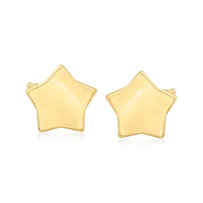 14kt Yellow Gold Puffed Star Stud Earrings
