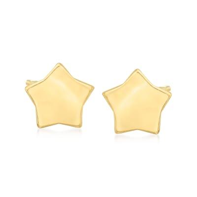 14kt Yellow Gold Puffed Star Stud Earrings