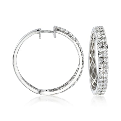 2.00 ct. t.w. Diamond Two-Row Hoop Earrings in 14kt White Gold