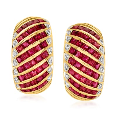 C. 1980 Vintage 4.00 ct. t.w. Ruby and .25 ct.  t.w. Diamond Earrings in 18kt Yellow Gold
