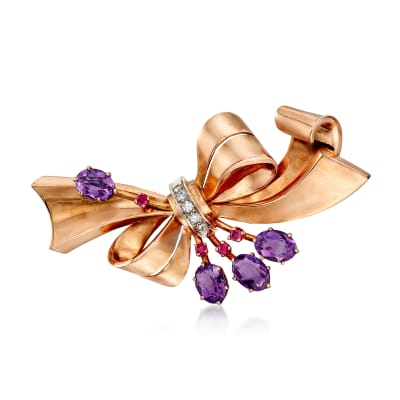 C. 1950 Vintage 4.60 ct. t.w. Amethyst and .20 ct. t.w. Ruby Bow Pin with Diamonds in 14kt Rose Gold