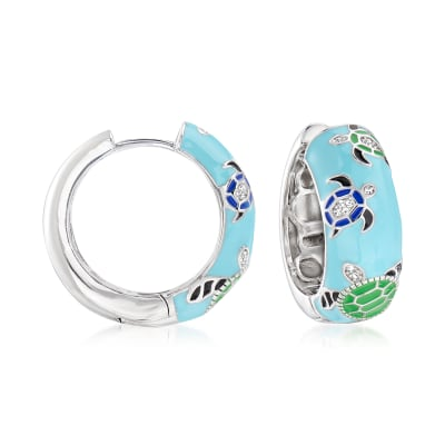 .10 ct. t.w. White Topaz and Multicolored Enamel Turtle Hoop Earrings in Sterling Silver