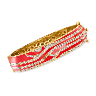 .33 ct. t.w. Diamond and Red Enamel Flame Bangle Bracelet in 18kt Gold Over Sterling