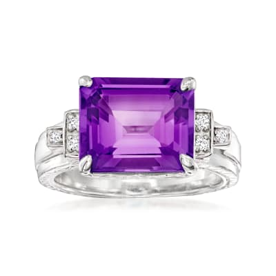 "Andrea Candela ""Gatsby"" 5.40 Carat Amethyst Ring with Diamond Accents in Sterling Silver"