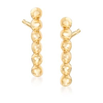 Gabriel Designs 14kt Yellow Gold Beaded Bar Stud Earrings