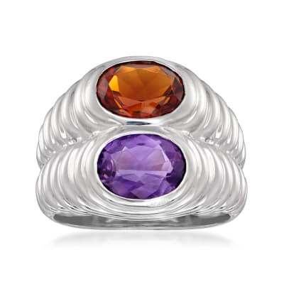 C. 2000 Bulgari 1.45 ct. t.w. Amethyst and 1.45 ct. t.w. Citrine Ring in 18kt White Gold