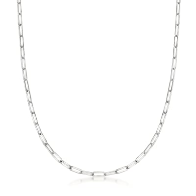 14kt White Gold Paper Clip Link Necklace