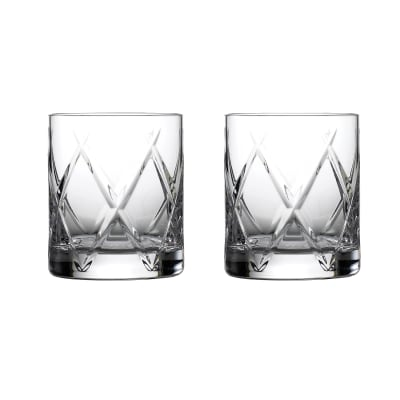 "Waterford Crystal ""Olann"" Set of 2 Double Old-Fashioned Glasses"