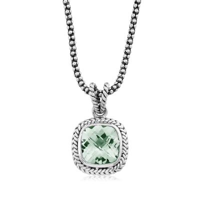 3.40 Carat Prasiolite Pendant Necklace in Sterling Silver