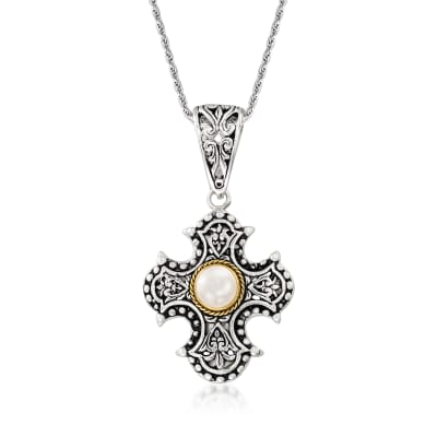 7-7.5mm Cultured Pearl Bali-Style Cross Pendant Necklace in Sterling Silver with 18kt Gold