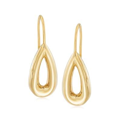Italian 14kt Yellow Gold Open Teardrop Earrings