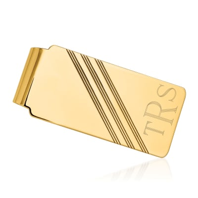 14kt Yellow Gold Three-Initial Engravable Money Clip