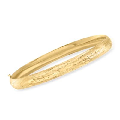 14kt Yellow Gold Floral Bangle Bracelet
