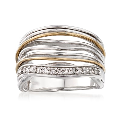 .21 ct. t.w. Diamond Multi-Row Wavy Ring in Sterling Silver and 14kt Yellow Gold