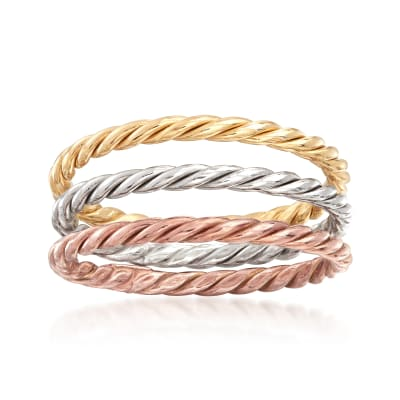 18kt Tri-Colored Gold Jewelry Set: Three Rope-Textured Rings