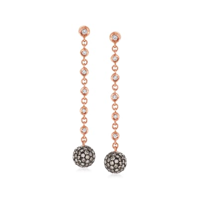 C. 1990 Vintage Bucherer 2.61 ct. t.w. Diamond Drop Earrings in 18kt Rose Gold