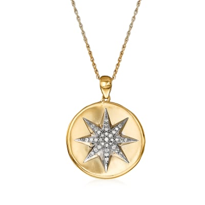 .20 ct. t.w. Diamond Starburst Necklace in Sterling Silver and 18kt Gold Over Sterling