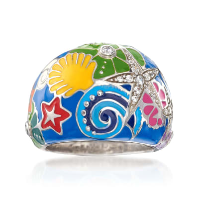"Belle Etoile ""Starfish"" Blue and Multicolored Enamel Ring with CZs in Sterling Silver"
