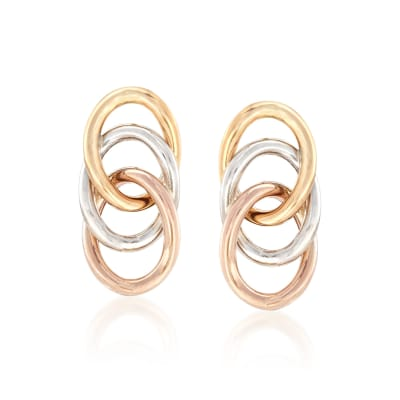 14kt Tri-Colored Gold Triple Loop Earrings