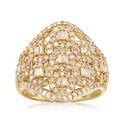 1.00 ct. t.w. Diamond Cluster Ring in 18kt Gold Over Sterling