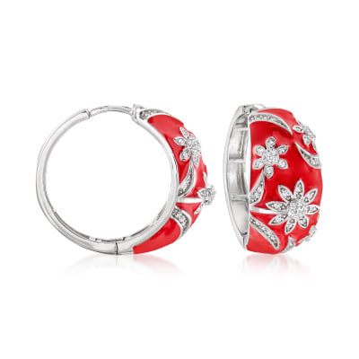 .70 ct. t.w. White Topaz and Red Enamel Floral Hoop Earrings in Sterling Silver