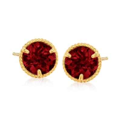 1.60 ct. t.w. Garnet Roped Halo Stud Earrings in 14kt Yellow Gold
