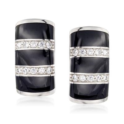 "Belle Etoile ""Regal"" Black Onyx and .36 ct. t.w. CZ Hoop Earrings in Sterling Silver"