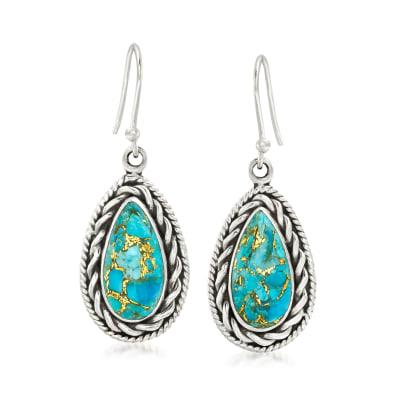 Turquoise Drop Earrings in Sterling Silver