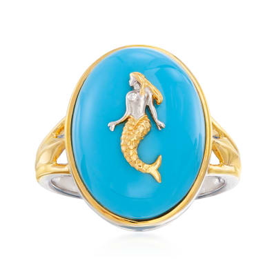 Turquoise Mermaid Ring in Sterling Silver and 18kt Gold Over Sterling