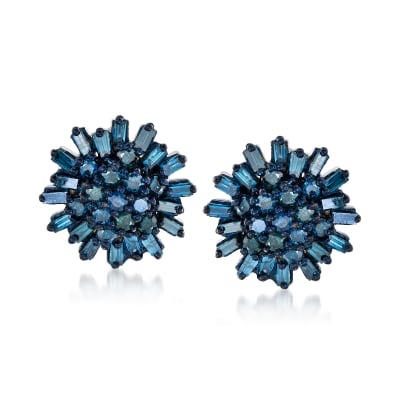 .75 ct. t.w. Blue Diamond Earrings in Sterling Silver