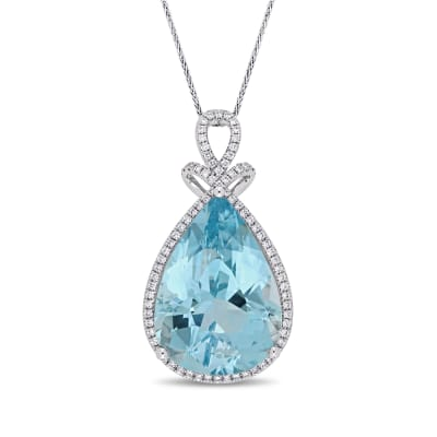 20.00 Carat Blue Topaz and .41 ct. t.w. Diamond Pendant Necklace in 14kt White Gold