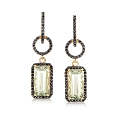 8.00 ct. t.w. Prasiolite and 1.00 ct. t.w. Black Spinel Drop Earrings in 18kt Gold Over Sterling