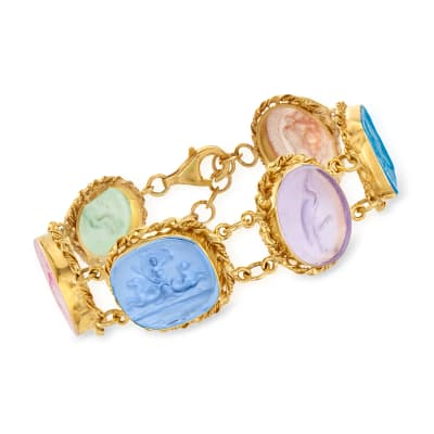 Italian Multicolored Venetian Glass Bracelet in 18kt Gold Over Sterling