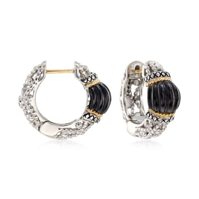 "Andrea Candela ""La Corona"" Black Onyx Hoop Earrings in 18kt Yellow Gold and Sterling Silver"