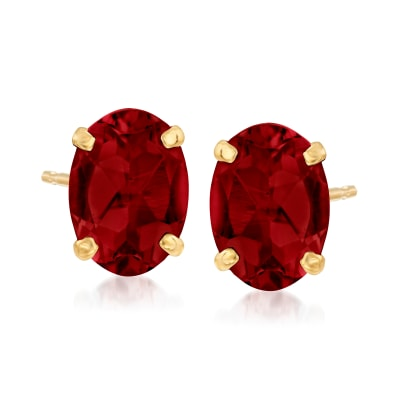 2.10 ct. t.w. Garnet Oval Stud Earrings in 14kt Yellow Gold