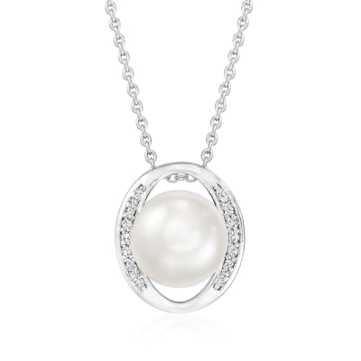 10mm Cultured Pearl and .16 ct. t.w. White Topaz Oval Pendant Necklace in Sterling Silver