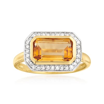 2.20 Carat Citrine and .12 ct. t.w. Diamond Ring in 14kt Yellow Gold