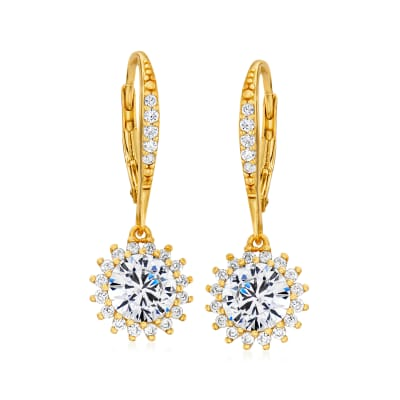 3.10 ct. t.w. CZ Flower Drop Earrings in 18kt Gold Over Sterling