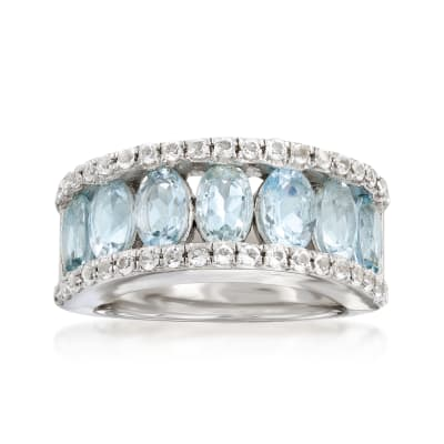 2.80 ct. t.w. Aquamarine and .80 ct. t.w. White Topaz Ring in Sterling Silver