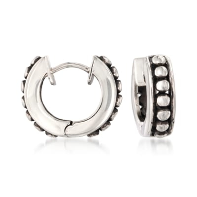 Zina Sterling Silver Beaded Hoop Earrings
