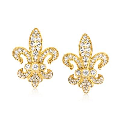 1.00 ct. t.w. Diamond Fleur-De-Lis Earrings in 18kt Gold Over Sterling
