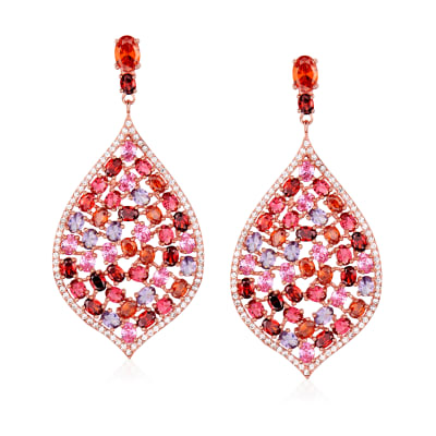 24.95 ct. t.w. Multicolored CZ Drop Earrings in 18kt Rose Gold Over Sterling