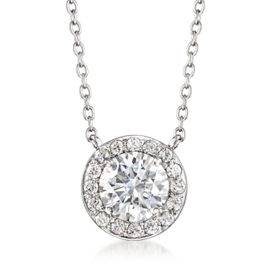 1.52 ct. t.w. Swarovski CZ Halo Necklace in Sterling Silver