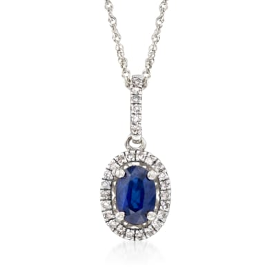 .60 Cart Sapphire and .12 ct. t.w. Diamond Pendant Necklace in 14kt White Gold