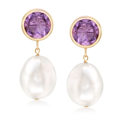 10-11mm Cultured Pearl and 4.00 ct. t.w. Amethyst Drop Earrings in 14kt Yellow Gold