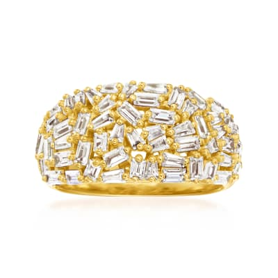 3.50 ct. t.w. CZ Ring in 18kt Gold Over Sterling