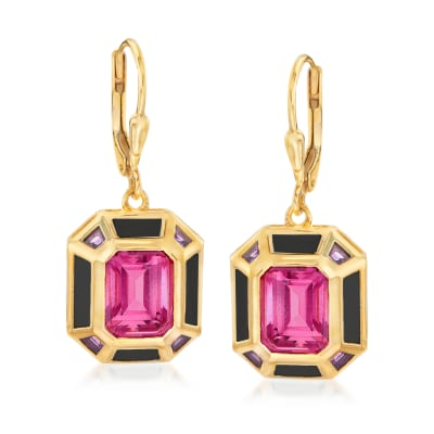 5.75 ct. t.w. Pink Topaz, .40 ct. t.w. Amethyst and Black Enamel Vintage-Style Drop Earrings in 18kt Gold Over Sterling